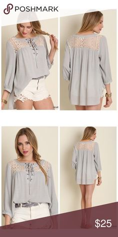 Pale Gray Lace Up Crochet Tunic Top S M L Boho pale gray lace up tunic top, crochet lace insets, 3/4 sleeves, loose fit style , Available in size Small, Medium, or Large.  ARRIVING MONDAY/SHIPPING TUESDAY OF NEXT WEEK!  No trades, price firm unless bundled.  BUNDLE 3 OR MORE ITEMS FOR 15% OFF!!! Boutique Tops Tunics
