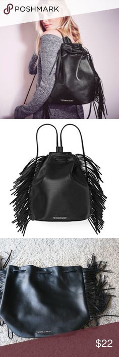 VS Fringe Backpack Victoria's Secret black faux leather backpack in black color. Great for trips or going to the gym. Near perfect condition. Make me an offer. No trades. Victoria's Secret Bags Backpacks