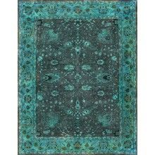 Rugsville Overdyed Brown Light Green Rug 12228