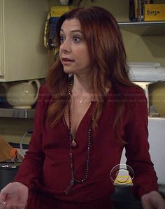 Lily's burgundy long sleeve dress on How I Met Your Mother.  Outfit Details: http://wornontv.net/22378/ #HowIMetYourMother