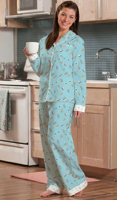 """Munki Munki Women's """"Skates"""" Flannel Pajama in Blue"""
