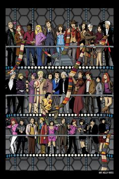 T-shirt artwork for All the Doctor's and almost all the companion. Doctor Who Fan Art, Doctor Who Stuff, Doctor Who Wallpaper, Doctor Who Companions, Free Comic Books, Eleventh Doctor, Eighth Doctor, Female Doctor, Dalek