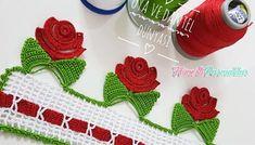 Crocheted Dowry Towel Edge Model Making with Roses Crochet Flower Tutorial, Crochet Flower Patterns, Crochet Doilies, Crochet Flowers, Embroidered Towels, Viking Tattoo Design, Creative Embroidery, Sunflower Tattoo Design, Crochet Borders