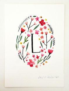 Monogram Letter L floral art print by AmeliaHerbertson on Etsy, $15.00