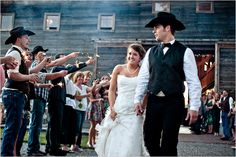 I like the cowboy hat idea. Maybe something to consider with groomsmen and groom.