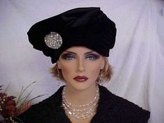Excellent eloquent black velvet and satin hat with by designer2, $30.00