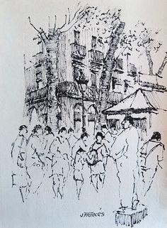 Les Rambles de Barcelona, Joaquim Francés -ink