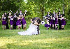 purple wedding bridal party picture