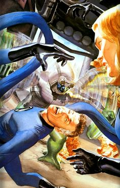 The Punisher-(Servant of Galactus) swatting Mr.Fantastic and the Thing