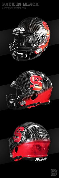 "Back in black! Loving the new uniforms NC State Wolfpack ""Pack in Black"" Alternate Football Helmet Cool Football Helmets, Football Helmet Design, Sports Helmet, Football Gear, Football And Basketball, Football Stadiums, Football Kits, Wolfpack Football, College Football Uniforms"