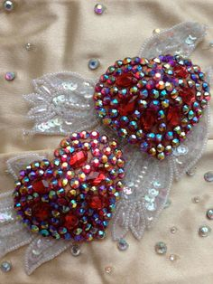 Red heart burlesque pastie rhinestones by GloriousPasties on Etsy, $58.00
