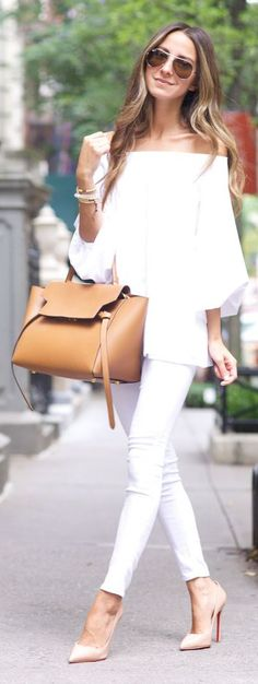White, White And Neutrals Summer Chic Outfit by Something Navy White pants, White blouse, White Shirt, White Clutch White Bag. All White Outfit, White Outfits, Casual Outfits, Outfit Look, Summer Chic, Spring Summer Fashion, Spring Outfits, Casual Summer, Spring Style