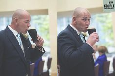 The groom takes a well deserved sip of his pint of Guinness. Weddings at The Johnstown Estate, photographed by Couple Photography.