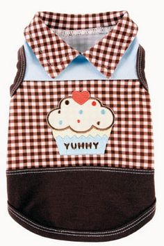 Yummy Blue Dog Tank by Ruff Ruff Couture® from    SimplyDogStuff.com is an adorable tank in baby blue  and yummy chocolate gingham pattern.  Perfect for summer, $41.98-43.98.
