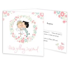 The Sweetness & Light tri-fold wedding invite with rsvp has a romantic and fun illustration of a cute wedded couple surrounded by a beautiful floral border. This fab wedding invite is sure to be noticed while putting a smile on your guests face. This invite has a perforated rsvp in postcard style for your guests to post back, along with an extra panel for important information such as directions & accommodation.  www.invitationsforless.ie