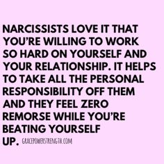 Narcissists expect you their target to do all the work in the relationship while sitting there smug and doing nothing but criticizing and gaslighting. Their partners work over time to make the relationship work yet nothing ever improves. Narcissistic People, Narcissistic Behavior, Narcissistic Abuse Recovery, Narcissistic Personality Disorder, Narcissistic Sociopath, Emotional Abuse Quotes, Narcissist Quotes, Narcissist Friend, Abuse Survivor