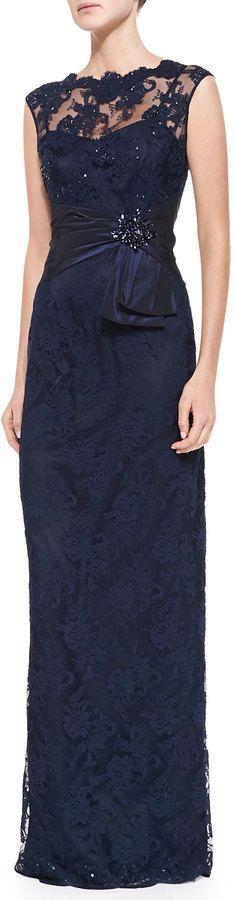 Rickie Freeman For Teri Jon ickie Freemn for Teri Jon Sleeveless Lace Illusion-Neck Gown on shopstyle.com