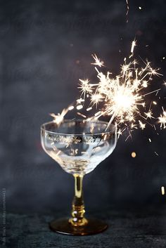 Champagne glass with a sparkler by RuthBlack | Stocksy United