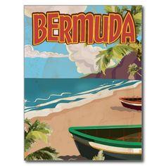 Bermuda vintage fun travel poster print postcard
