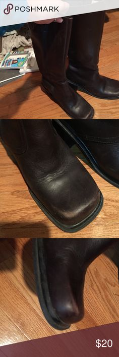 Nice dark brown leather boots! Mia tall, just below the knee leather boots.  Worn maybe a handful of times!  Big wedge heel about 2 1/2 or 3 inches.  Excellent condition!  Smoke free home.  Can ship tomorrow! ☺️ MIA Shoes Heeled Boots