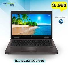 "LAPTOP  HP Probook 6470b Core i5 (3º Gen)......S/.990 ================================================ * Laptop Empresarial HP Probook 6470b 3ra. Generacion * Procesador Intel Core i5 3210M de 2.5 Ghz * Memoria RAM 8GB ddr3 Bus 1600Mhz.(Soporta 16GB) * Disco Duro de 500GB SATA  * Pantalla de 14"" LED 1366x768 resolucion * DVD Multigrabador SATA  * Video Integrado Intel HD graphics 4000 de 1.6 GB  * 2 Puesrtos USB 3.0 * Entrada de Video VGA * Teclado EN Español * Bluethooth 4.0  * Conexion…"