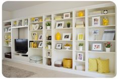 Built-in bookcase from Ikea bookshelves. From the Ikea hacker website. Ikea Bookcase, Built In Bookcase, Ikea Shelves, Bookcase Styling, Bookshelf Design, Storage Shelves, Diy Bookshelf Wall, Bookcase Makeover, Rustic Bookshelf