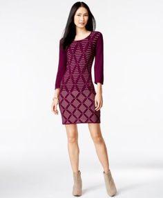 Spense Petite Textured-Diamond Print Sheath Sweater Dress