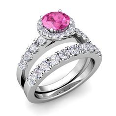 halo diamond wedding sets | halo-bridal-set-pave-diamond-and-pink-sapphire-wedding-ring-set-in ...