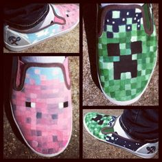 minecraft shoes I love the creeper ones! Minecraft Shoes, Minecraft Stuff, Bar Geek, Painting Minecraft, Minecraft Designs, Minecraft Birthday Party, Unique Shoes, Geek Girls, Boy Outfits