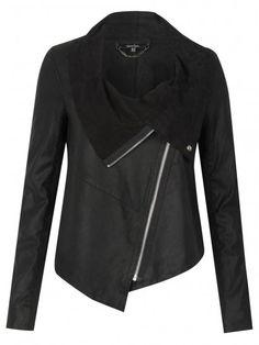 Muubaa Alexis Drape Suede Jacket in Black