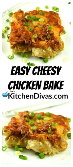 This recipe for Easy Cheesy Chicken Bake is both delicious and fast. Perfect for any night of the week! This dish works well served with anything from a salad, to any vegetable, or pasta or rice. This casserole also pairs so well with just about any side dish! The crunch of the topping is what sets this dish apart.I would be happy eating the topping as a side dish if I could get away with it!