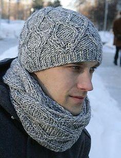 Мужская шапка спицами
