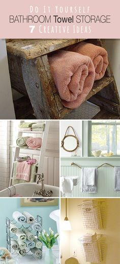 7 Creative Ideas For Bathroom Towel Storage: A Towel Rack Gets A Brand New Look For Hanging Basket