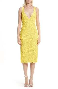 Free shipping and returns on Diane von Furstenberg Lace Midi Sheath Dress at Nordstrom.com. A daring décolleté neckline tempers the ladylike disposition of a midi-length sheath impeccably cut from citrusy yellow lace.