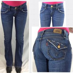 Levi's Low Rise Bootcut Jeans - Size 3 M Super cute jeans in great shape. Leg openings show slight signs of distress which ads to their charm. Measurements: Waist: 25 - Inseam: 32 - Outseam: 40.5 - Leg Opening: 17 - Front Rise: 8 - Back Rise: 14 - Hips: 38 Levi's Jeans Boot Cut