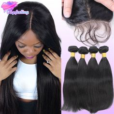 99.60$  Watch now - http://alimin.worldwells.pw/go.php?t=32578377418 - 7A Brazilian Silk Base Closure With Bundles 3 Pcs/Lot Straight Hair With Closure Human Hair Weave Bundles With Silk Base Closure 99.60$