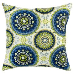 Kirsten Indoor/Outdoor Pillow (Set of 2)  Lend a touch of charm to your patio or veranda seating group with this eye-catching indoor/outdoor pillow, showcasing a medallion motif for stylish appeal.