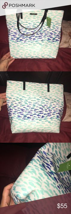 New Kate Spade plentyfish Bon Shopper! Comes from a smoke free home! Brand new with tags! Has very minor black marks as shown in the last 2 pictures! Barley noticeable and can probably be wiped away! Besides that the bag is brand new with tags still attached! kate spade Bags Totes