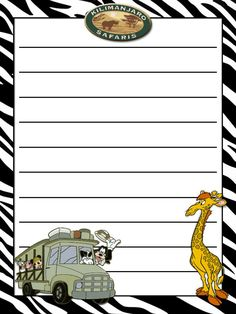 """Kilimanjaro Safari - - Project Life Journal Card - Scrapbooking. ~~~~~~~~~ Size: 3x4"""" @ 300 dpi. This card is **Personal use only - NOT for sale/resale** Clipart/Logo belongs to Disney. Zebra background from www.clker.com ***Click through to photobucket for more versions of this card :) ***"""