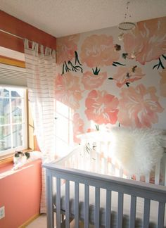 17 Nursery Accent Wall Ideas – DIY Home Decor. I want this floral wall for my walk in closet! Nursery ideas and inspiration Nursery Room, Girl Nursery, Nursery Decor, Nursery Ideas, Budget Nursery, Baby Decor, Bedroom Ideas, Bedroom Makeovers, My New Room