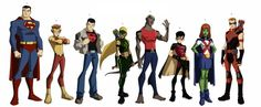 """superheroes-or-whatever: """" Not finalized Young Justice character designs by Phil Bourassa """" Young Justice Characters, Dc Characters, Young Justice Superboy, Justice Kids, Marvel Comic Character, Superhero Design, Dc Heroes, Marvel Dc Comics, Teen Titans"""