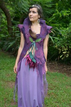 Gowns Pagan Wicca Witch: Nuno Felted Faery Leaf Flower Goddess Princess #gown.