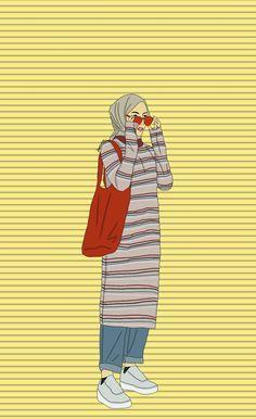 Islamic anime and hijab Tmblr Girl, Sarra Art, Hijab Drawing, Islamic Cartoon, Anime Muslim, Hijab Cartoon, Islamic Girl, Cute Cartoon Wallpapers, Mode Hijab