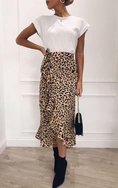 afa7ae00d5 Lulu Wrap Midi Skirt - Leopard Print by Pretty Lavish Weekend Outfit,  Ruffles, Ruffle