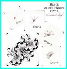 sunz tangle patter, Alice Hendon, The Creator's Leaf, www.thecreatorsleaf.com: