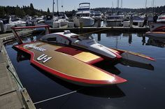 1980 U-1 U1 Miss Bud Budweiser at the dock, classic unlimited class hydroplane hydroplanes hydro hydros racing boat boats