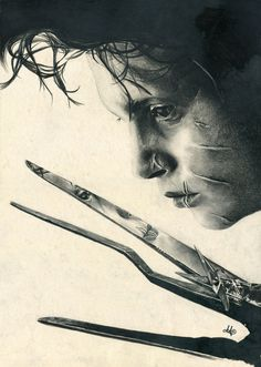 Drawing - Edward Scissorhands by =th3blackhalo on deviantART