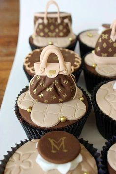 Cupcakes decorated with Louis Vuitton bags