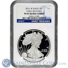 Great Deals On 2014 1 oz American Proof Silver Eagle NGC Early Release Ultra Cameo At Gainesville Coins. Securely Buy Gold And Silver Online. Bullion Coins, Silver Bullion, Derek Jeter, Silver Coins For Sale, Gold Coins, Coin Buyers, Trust, Coin Dealers, Gold