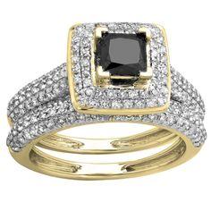 Elora 14k Gold 1 2/5ct TDW Princess Black and Round White Diamond Halo Bridal Ring Set (Size 5.5, Yellow Gold), Women's (solid)